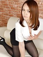 Rina Itoh Asian in office outfit and heels shows legs in nylon