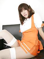 Mana Mizuno Asian in fishnets shows hot ass in kinky uniform