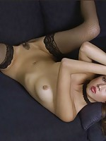 Asian in black panties stripping